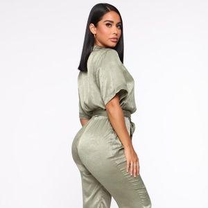 Shirley Satin Jumpsuit Olive Fashion Nova